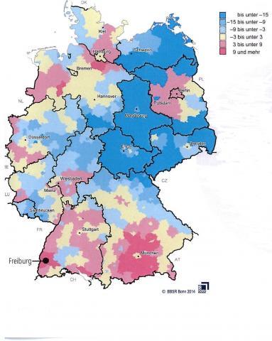 Fortschreibung 1990 bis 2012 in Prozent